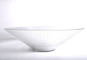 Fruitschaal glas ribbel 30cm