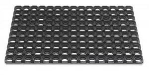 Deurmat 80x120 Ring rubber zwart