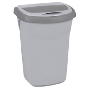 Afvalbak 30ltr Eureka plat deksel Grijs