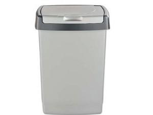 Curver afvalbak 10ltr plat deksel grijs