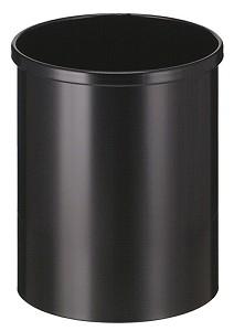 Prullenbak 15 liter. Zwart metaal