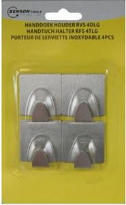 Handdoekhaakjes zelfklevend RVS set à 4